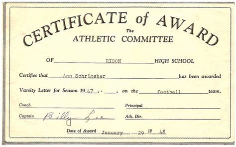 athletic certificates driverlayer search engine