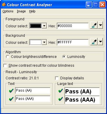 color contrast analyzer colour contrast analyser vision australia blindness and