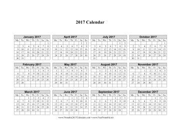printable calendar 2017 starting monday printable 2017 calendar on one page horizontal week