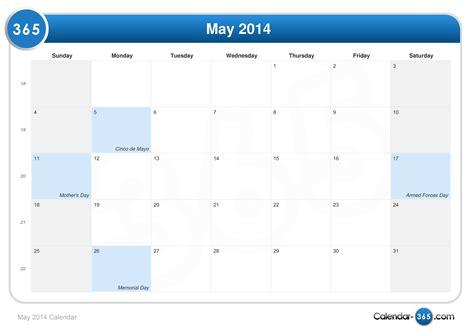 2014 May Calendar May 2014 Calendar