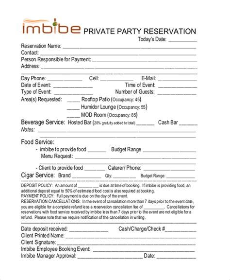 Reservation Letter For A Restaurant Free Reservation Forms Sle Reservation Form 20 Free