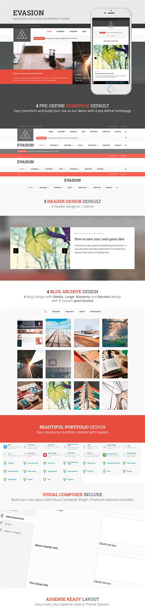 evasion template magazine blogging wordpress