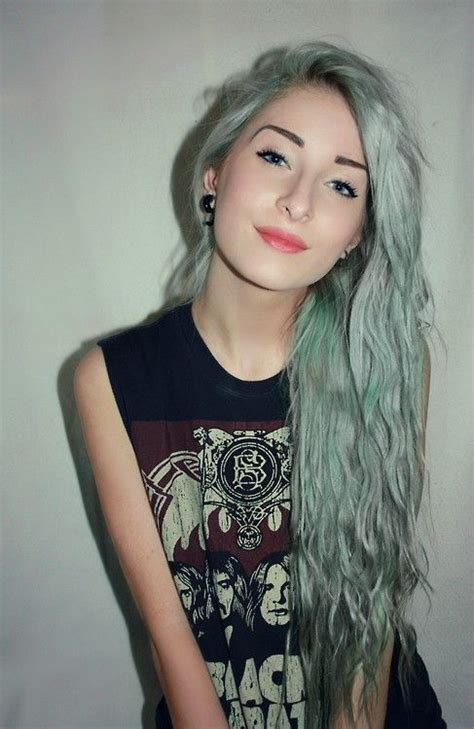 Fading Wisker Soft Blue faded green hair waves minty mermaid soft grunge mermaids green and green hair