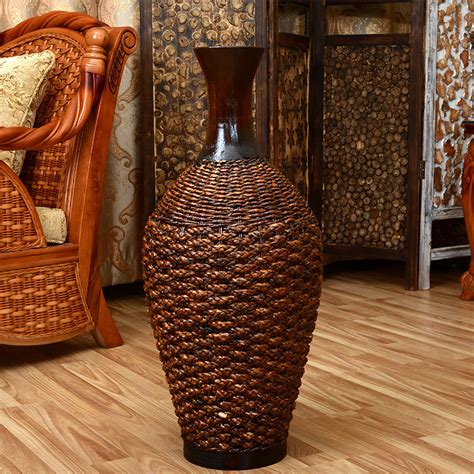 What To Put In Large Floor Vases by Bamboo Handmade Rustic Rattan Countertop Desktop Dried