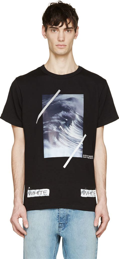 lyst white c o virgil abloh black and purple wave print t shirt in black for