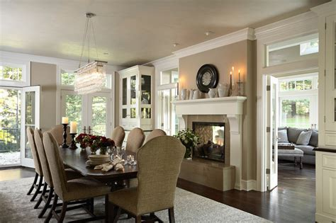 two room fireplace dining room with renovated two sided fireplace into porch