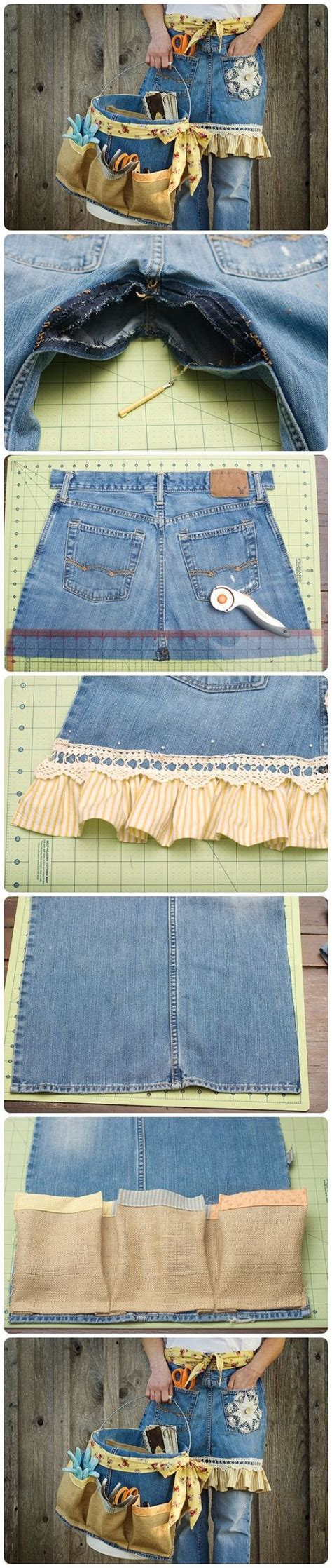 apron pattern using old jeans diy denim apron and basket from old jeans woman clothing