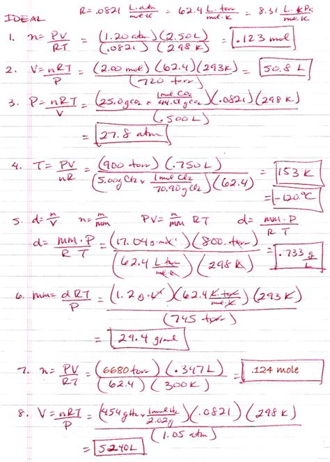Ideal Gas Practice Worksheet Answers by Ap Chemistry Ths Gas Laws Answers