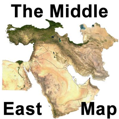 middle east map topographical topographic middle east 3d model