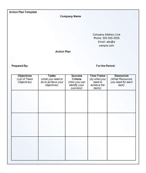 business action plan template 12 free sle exle