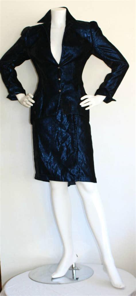 Avante Blue Metalic By Fcwarehouse vintage thierry mugler blue velvet metallic power suit