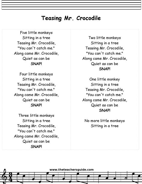 5 little monkeys swinging in a tree lyrics teasing mr crocodile lyrics printout midi and video
