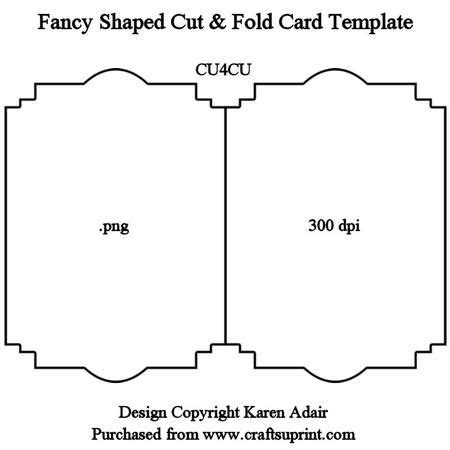 Book Shaped Card Template by Fancy Shaped Cut Fold Card Template On Craftsuprint