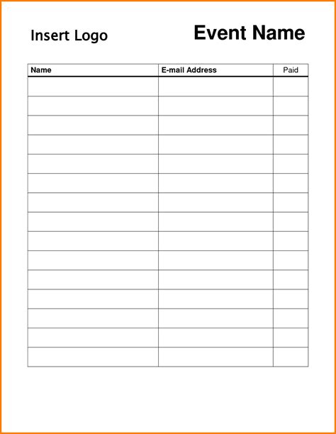 search results for free sign up sheet template printable