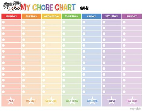 make my own calendar with pictures free free printable chore chart momdot