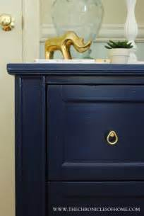 navy blue nightstand dresser makeover finishes