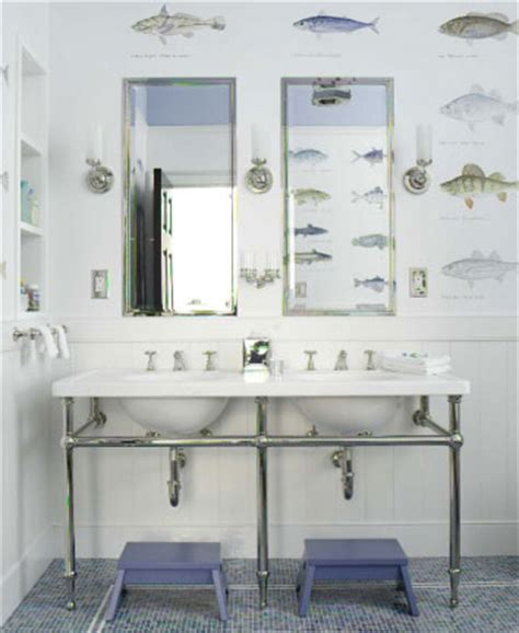 Bathroom Wallpaper Fish by Blue Beachy Bathrooms Design Ideas