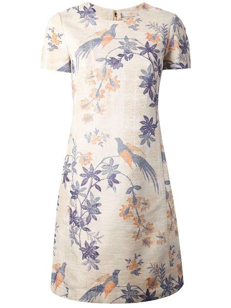 Blue Flower Bird Print Dress burch flower bird print dress in lyst