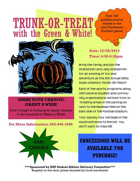trunk or treat flyer template athletics trunk or treat news and events