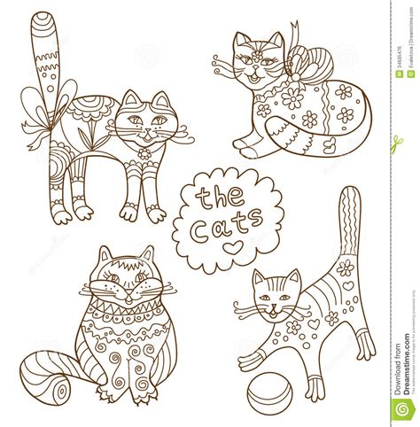 coloring book greeting cards greeting card with cats royalty free stock image image