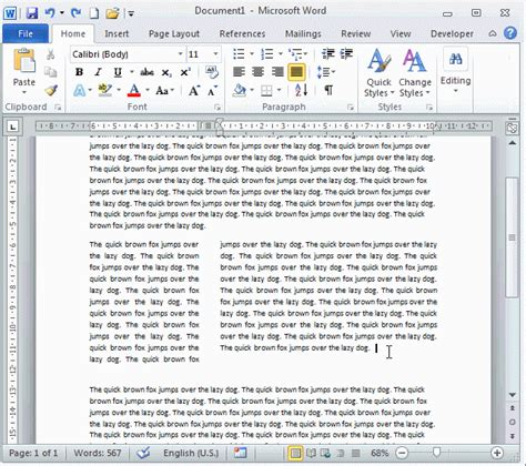 word page layout columns word2010 columns equal column width