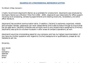 exle of professional reference letter http