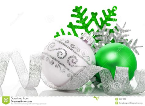 green silver for christmas green and silver decoration stock photo image 33851566