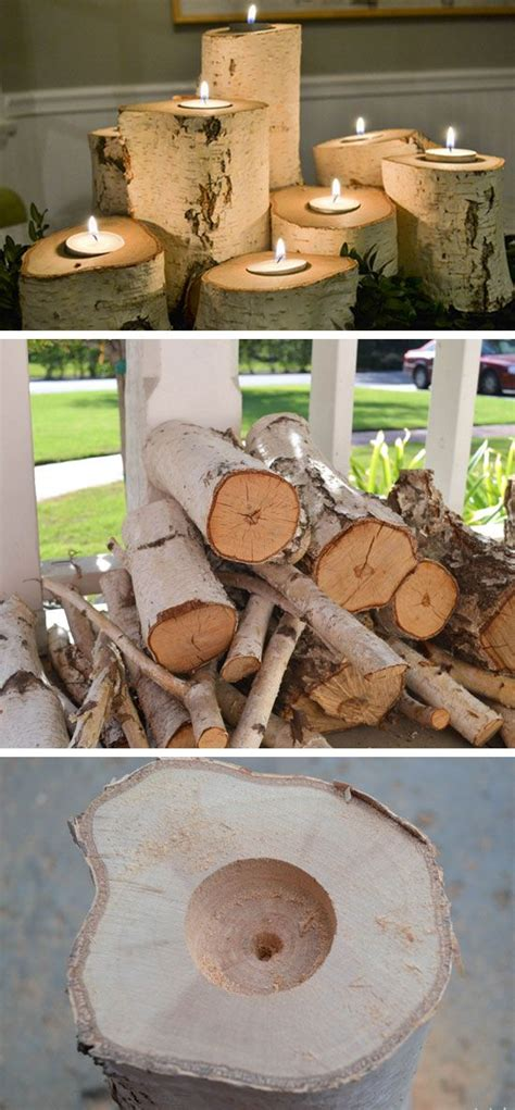 tree stump candle holders 35 diy fall decorating ideas