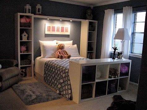 comfortable bedroom comfortable bedroom in dark colors and shelves in the