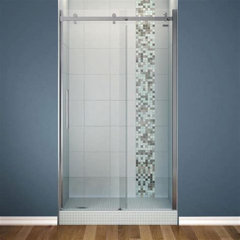 Maax Halo Shower Door Maax Halo 48 In X 78 3 4 In Semi Framed Sliding Shower Door With Clear Glass In Chrome 138996