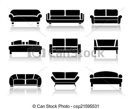 design icon sofa vectors of vector sofa icons set interior design vector