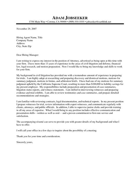 Employment Attorney Cover Letter by Cover Letters For Lawyers Cover Letter Exle