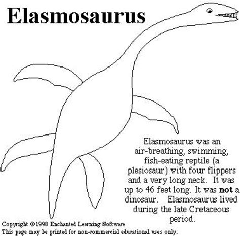 elasmosaurus print out enchanted learning software
