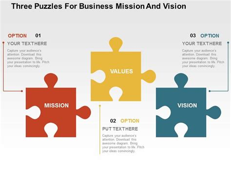 ppt templates for vision three puzzles for business mission and vision flat