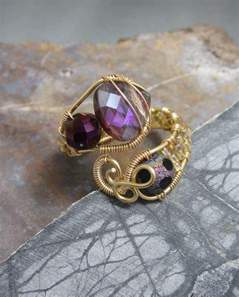 Etsy Handmade Rings - wire wrap handmade ring in purples adjustable