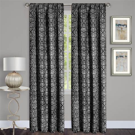curtains 54 x 84 achim madison black polyester rod pocket curtain 54 in