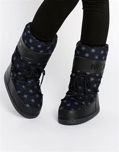 moschino snow boots moschino moschino blue snow boots at asos