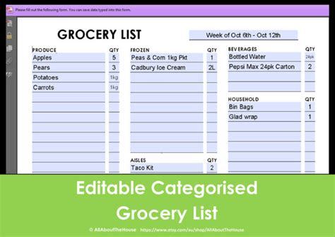 printable australian grocery list printable grocery list editable categorised shopping