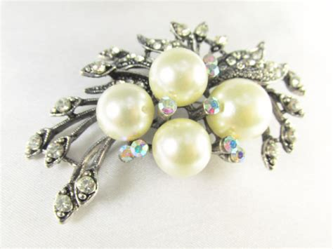 Jrhz148 Antique Style Silver Brooch Necklace Blue White Hummingbird Cameo White Pearl Vintage Style Antique Silver Brooch With Clear