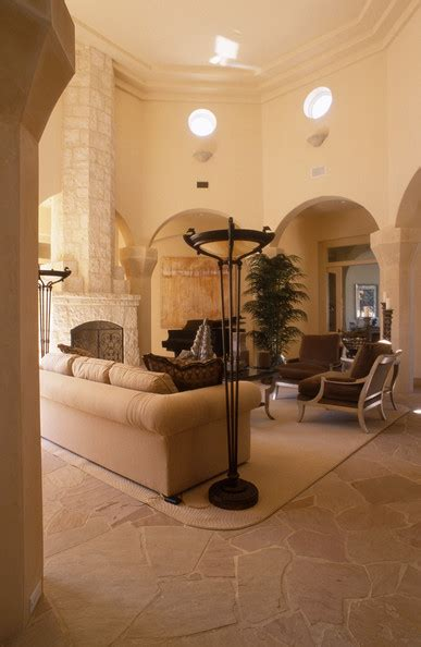 Living Room And Family Room Ideas - beige contemporary mediterranean family room living room