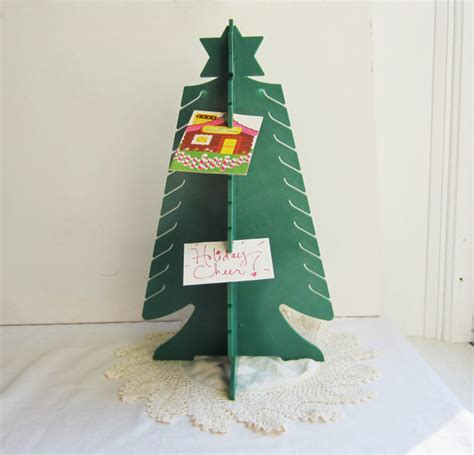 vintage card photo holder tree shaped christmas by