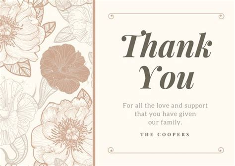 funeral thank you cards templates funeral thank you card templates canva