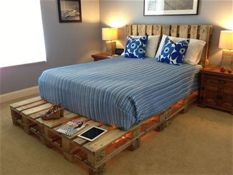 Wood Pallet Bed Frame With Lights Wooden Pallet Bed Frame With Lights