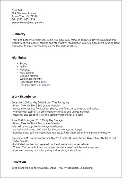 Front End Loader Operator Sle Resume by How To End A Resume Email 28 Images Free Cv Templates 198 To 204 Free Cv Template Dot Org