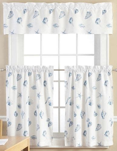 Curtain L 3 seashell theme 3 kitchen window curtain set w valance 36 quot l tiers ebay