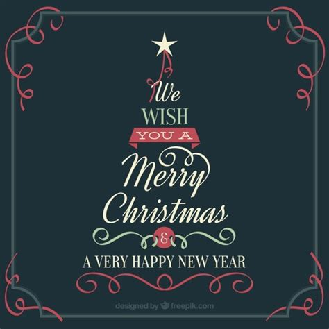 vintage christmas tree card with message vector free