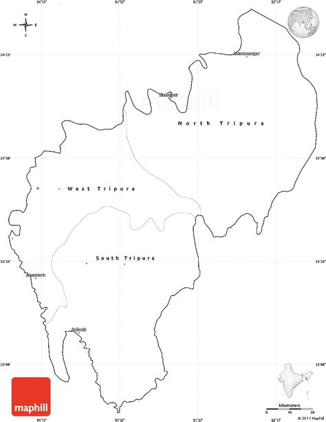 East India Map Outline by Blank Simple Map Of Tripura Cropped Outside