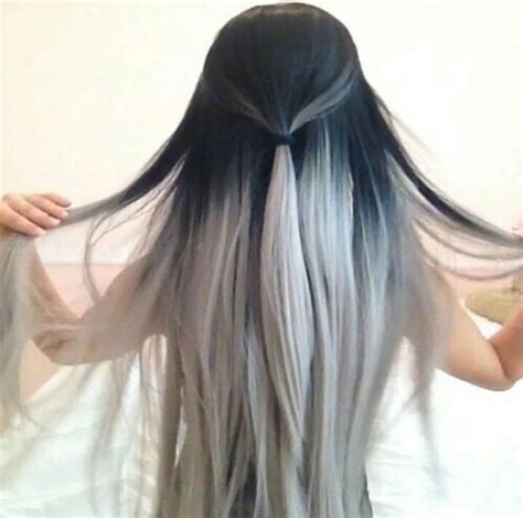 black and white color hairstyles black hair ombre white image 2774887 by lauralai on