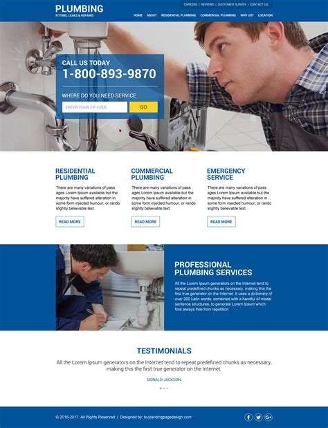 pluming services free quote lead capturing landing page design