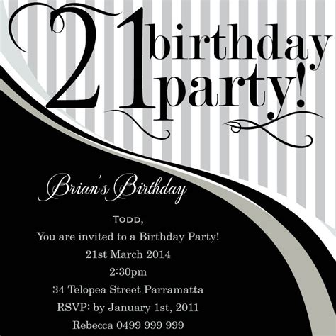 21st birthday invitation card template 21st birthday invitation templates templates